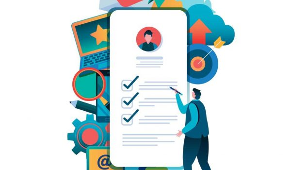 man-filling-out-form-online-on-smartphone-vector